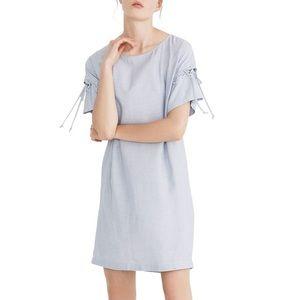 ⚡️NWT⚡️ Madewell stripe lace up sleeve shirt dress